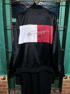 Tommy Hilfiger Big Flag Satin Jacket (Black)