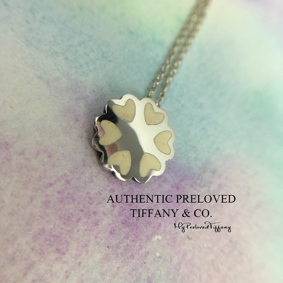 a97922a692cd4 Authentic Tiffany & Co. White Enamel Crown Of Hearts Necklace Silver