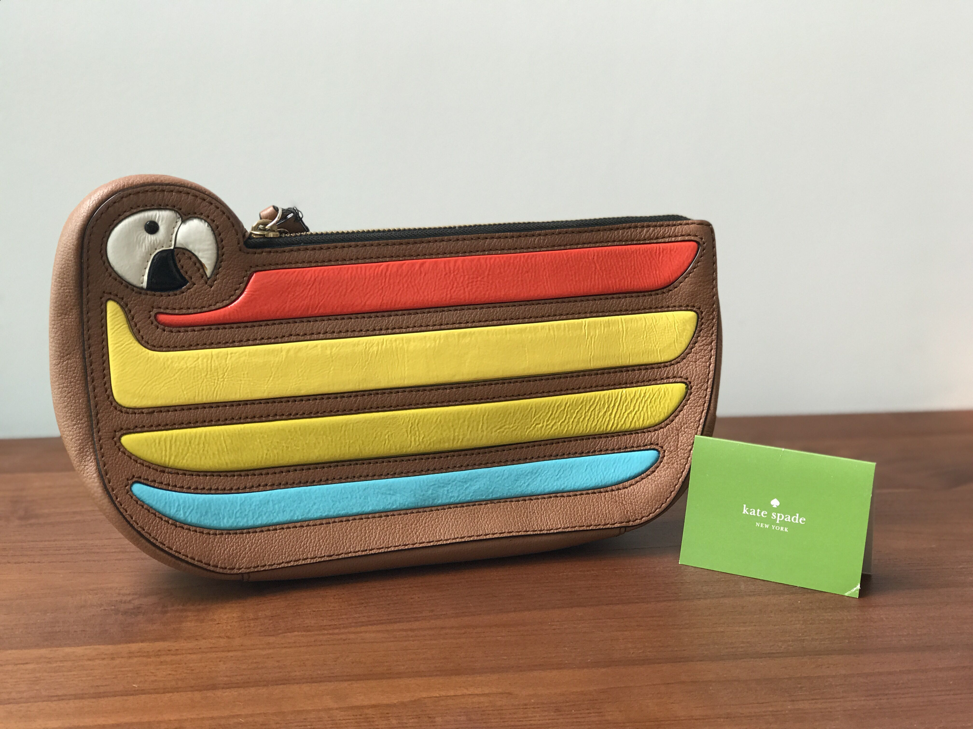 f41760de66f2 Authentic whimsical Kate Spade reversible clutch macaw parrot cay bird  leather clutch wristlet - lightly used