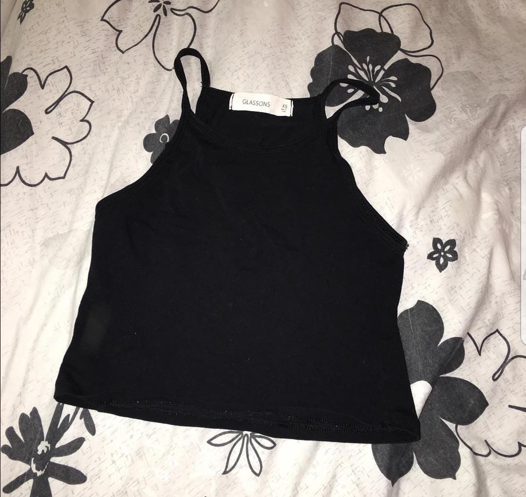 black haltered top