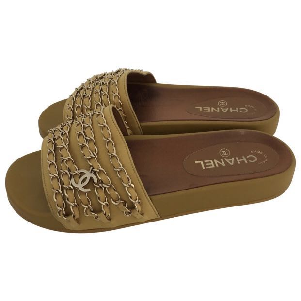 572b857100ed Chanel Yellow Satin PoolSlides with Chains