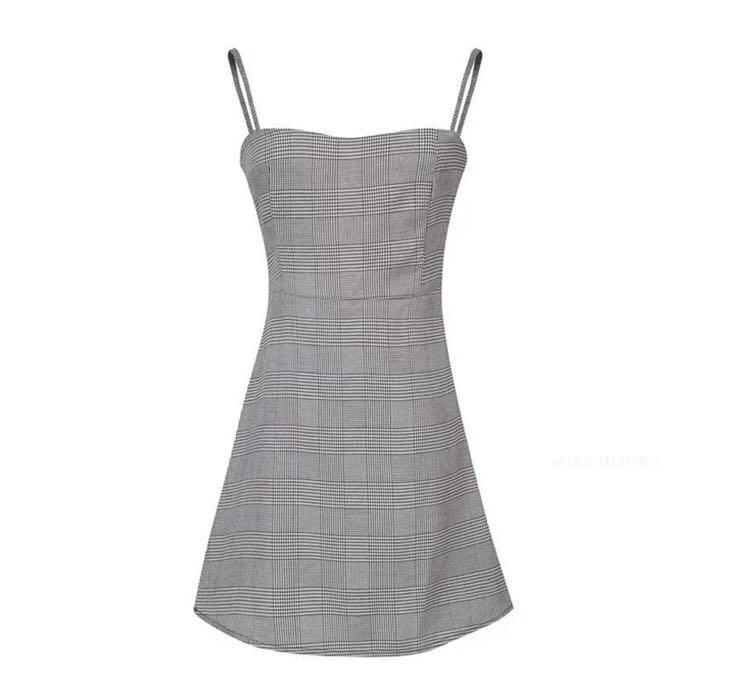 Grey Plaid Checkered Dress