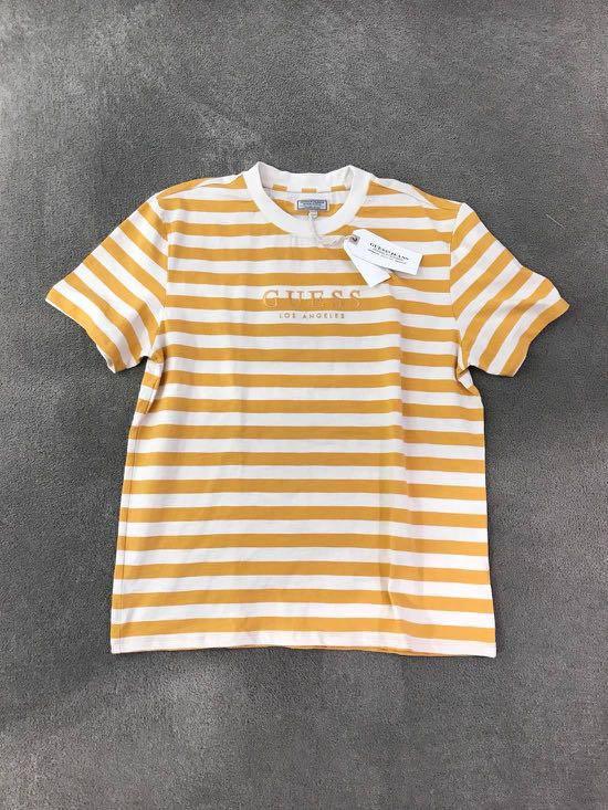 73a8dcd753 GUESS 1981 LA Capsule Vintage Mustard Striped Tee Size L, Men's Fashion,  Clothes, Tops on Carousell