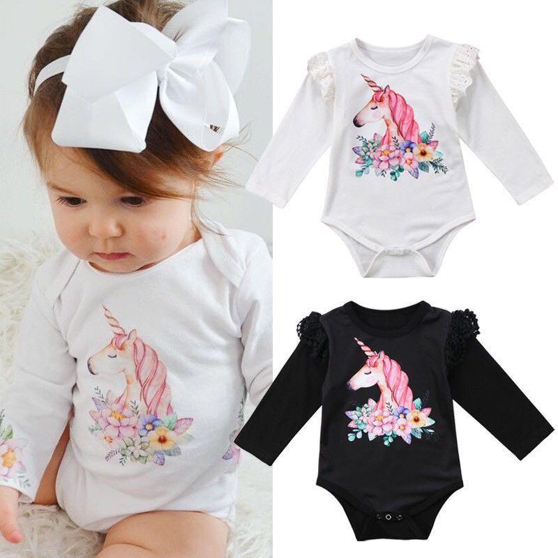 40f969c60db Long Sleeve Angel Wing Unicorn Romper in White/Black, Babies & Kids ...