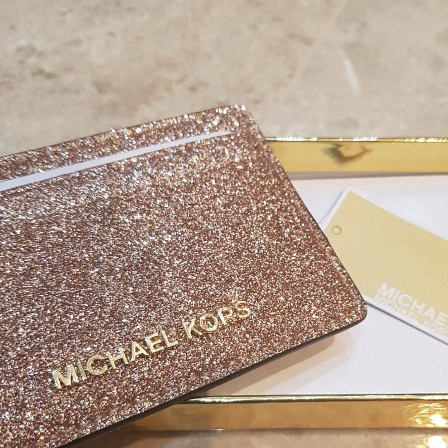 54b2f47a1ea09 MICHAEL KORS Money Pieces Rose Gold Leather Card Holder