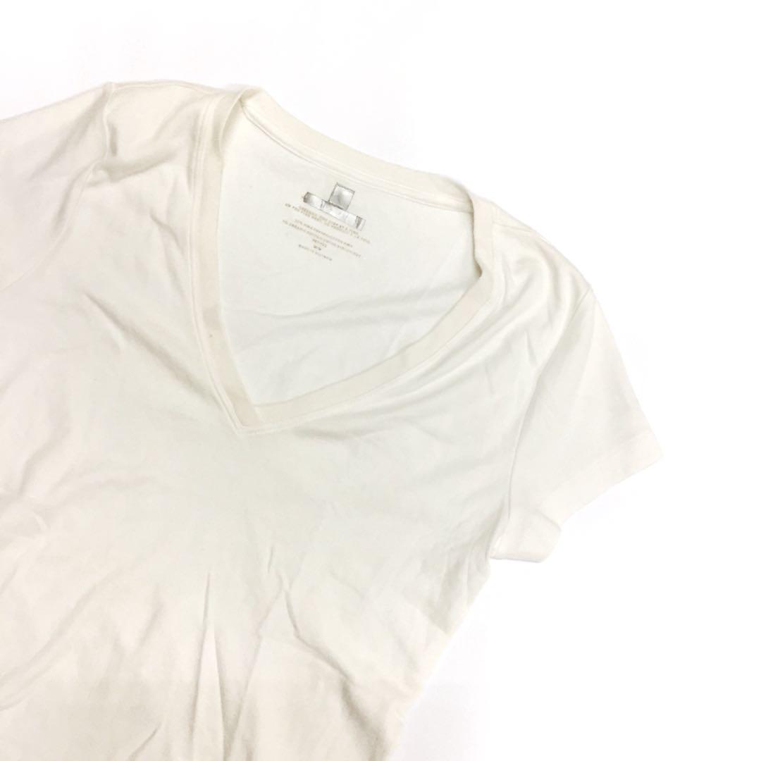 Plain White Deep V Neck T Shirt Top