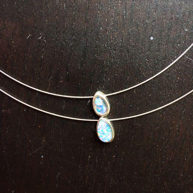 Silver And Opal Double Drop Necklace