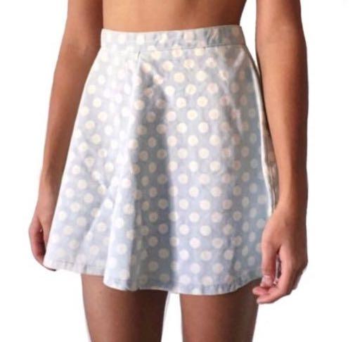 c872345b7b TOPSHOP polka dot denim skater skirt, Women's Fashion, Clothes ...