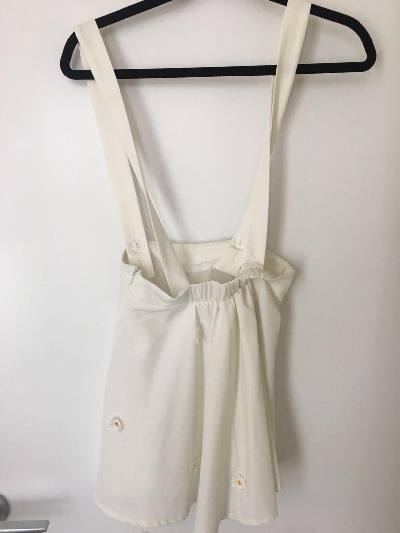 White Daisy Overall Skirt