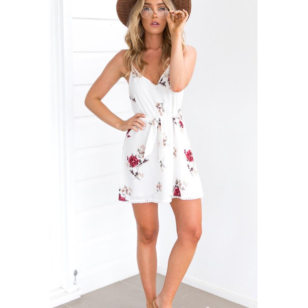 85c32e451d6a Women Summer Sleeveless Floral Evening Party Cocktail Beach Short Mini Dress
