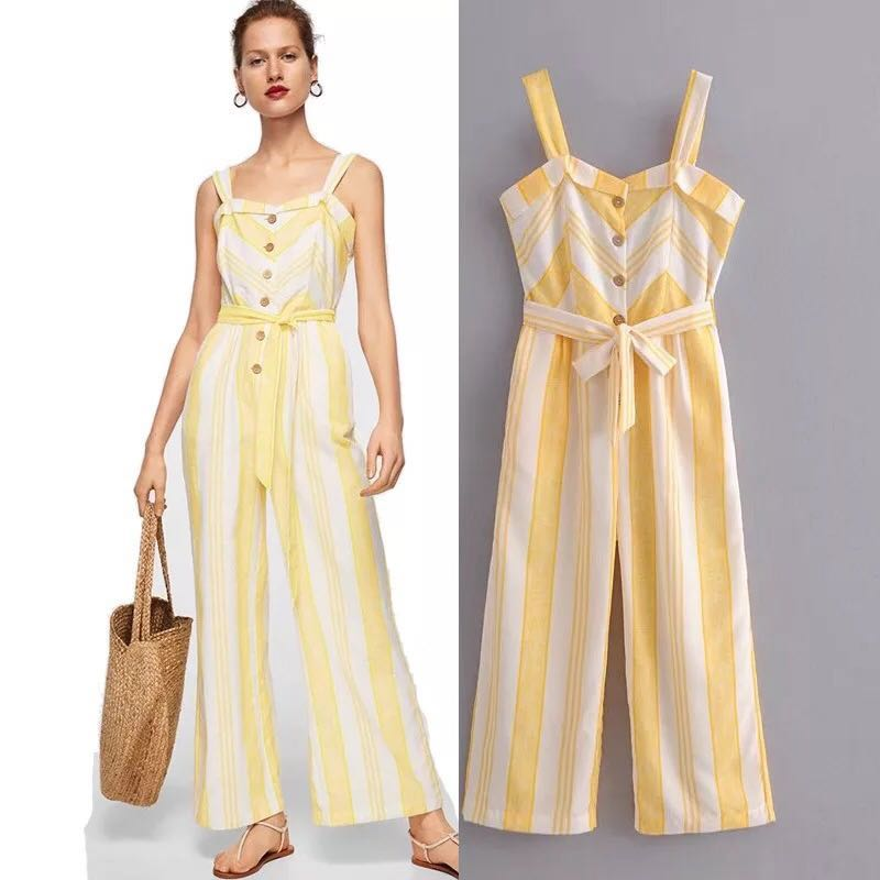 15521ae1471 Yellow and white striped belt cotton and linen jumpsuit jumpsuit ...