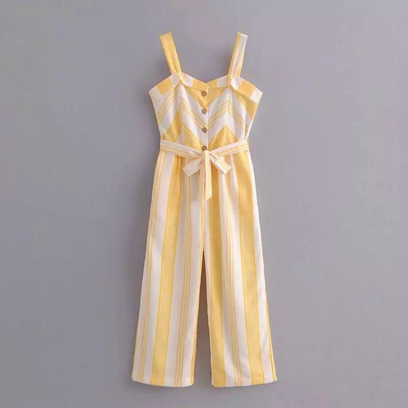 dfa485fd35d Yellow and white striped belt cotton and linen jumpsuit jumpsuit length