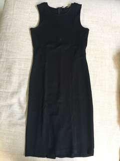 Zara Plain Black Jersey Dress