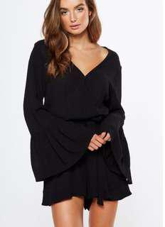cotton on black bell sleeves romper / playsuit