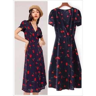 Cherry Printed Wrap Dress