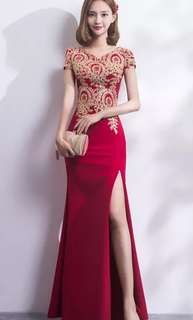 Red body con gown