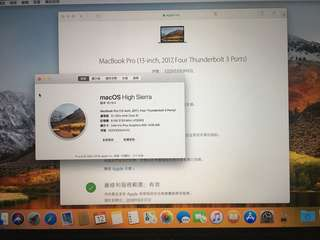 MacBook Pro(13英吋 Mid 2017 Four Thunderbolt 3 ports)