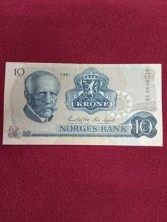 Norway 10 kroner 1981 issue