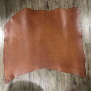 Leather Hides For Sale: Cognac Brown Butter Leather Double Shoulder