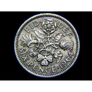 1964年英國四王國國花6便士鎳幣(英女皇伊莉莎伯二世像)