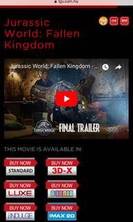 Movie Ticket of Jurassic World.