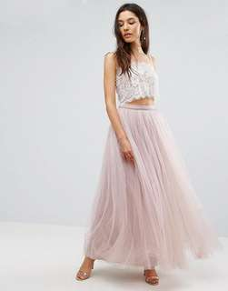 Two-piece Wedding Gown with Velvet Strap Bralette/ Crop Top and ASOS Maxi Tulle Prom Skirt