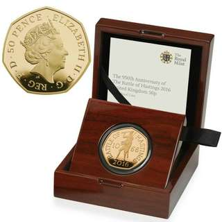 2016 950th Anniversary of the Battle of Hastings 50p fifty pence gold proof coin.