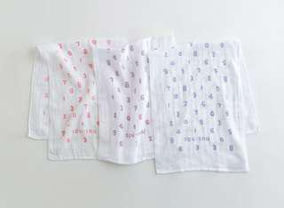 日本Sou sou 代購 紗布純白彩色數字毛巾