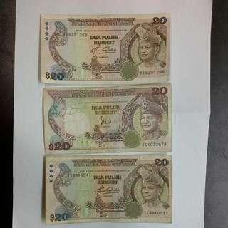 3 Malaysia $20 Ringgit Notes
