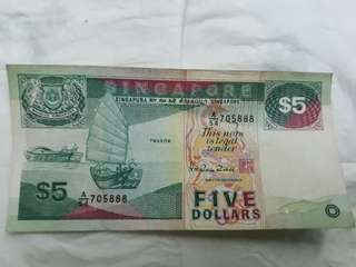 Singapore 5 dollar lucky number
