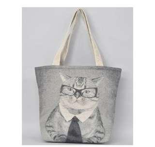 日本直送- 貓貓手袋  ジャカードトートバッグ タビーキャット