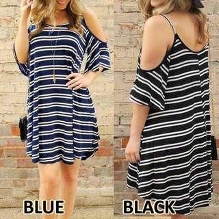 Striped Off Shoulder Strap Dress/Blouse