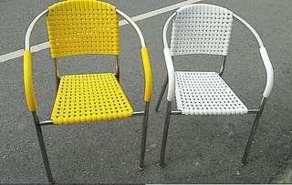 戶外休閒塑鋼白鐵椅