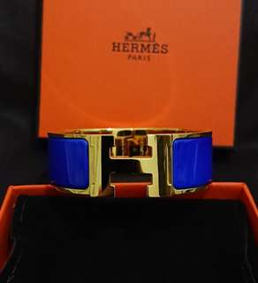 Hermes Clic H Bracelet PM Gold & Electric Blue 手鈪