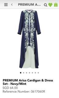 POPLOOK Premium Arisa Cardigan and Dress Set in Navy/Mint