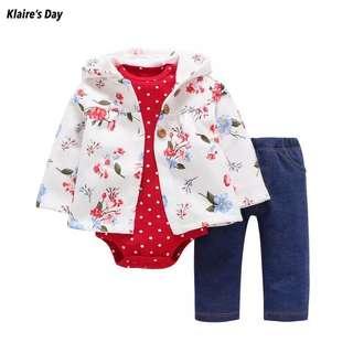 Carters Floral Jacket Romper Pants Pretty Set (vii) #babydivision