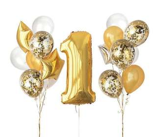 Number gold birthday balloon set