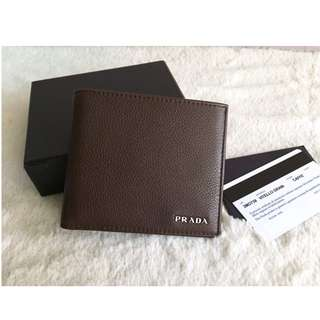BRAND NEW - AUTHENTIC Prada Leather  Wallet with Coin Compartment -Caffe