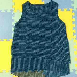 Blue Polka Sleeveless Top