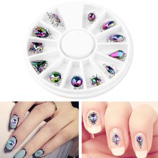 12 Style Glass Crystal Flame AB Rhinestones Gems Alloy Metal 3D Tips UV Gel Polish Accessories Nail Art Decoration Tool Manicure