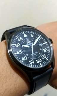 Orient Black Automatic Original Jam Watch Military Pilot Looks Aviator 44mm