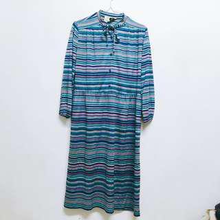 🚚 藍色條紋古著洋裝
