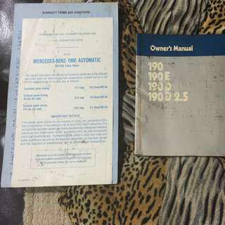 Mercedes 190E Owner's Manual