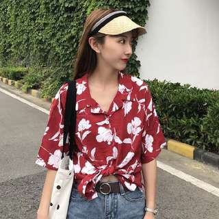 [PO] white florals button up collared blouse