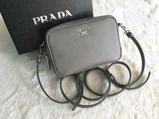 AUTHENTIC Prada Saffiano Mini Crossbody Sling Messenger  Bag-Marmo - 1NF674