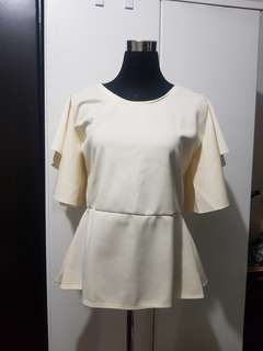 Cream Butterfly Sleeve Top Large