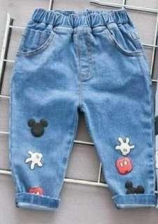 🚚 男女童米奇7分牛仔褲