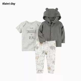 Snuggle Is Real Grey 3 Piece Jacket Shirt Pants Baby Boy Set (xv) #babydivision
