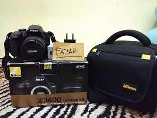 Nikon D3400 + Kit 18-55VR + Bonus memory 8 Gb + Bonus tas camera