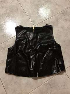 Black leather crop top